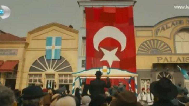 Vatanım Sensin Bayrak sahnesi ve şiiri: Çekin göndere bayrakları