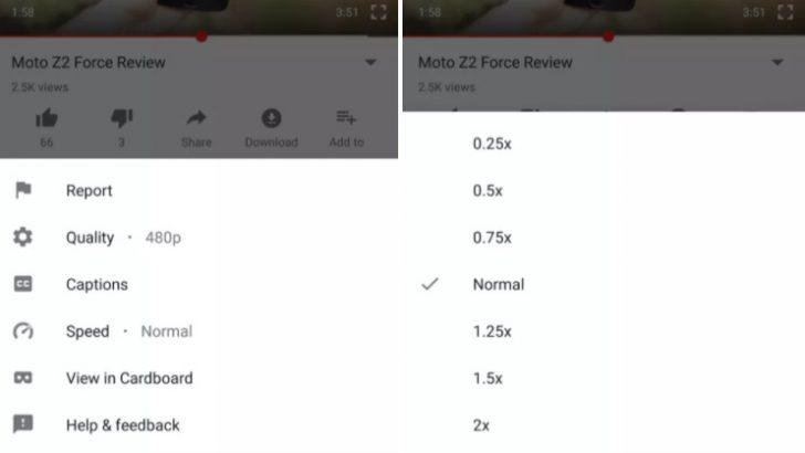 Youtube'un Android versiyonuna video hız kontrolleri geldi