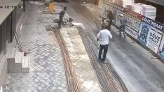 Aydın'da yolda yürüyen çocuğun üzerine metal parçanın düşme anı kamerada