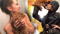 Yeni köpeği için çıplak tanıtım yaptı!