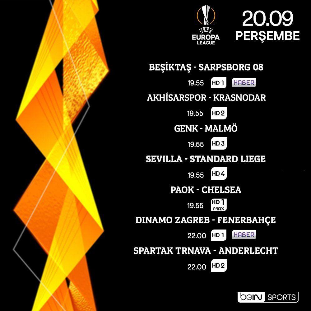 beIN SPORTS'taki UEFA Avrupa Ligi canlı maç yayın programı