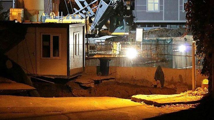 Ümraniye caddede metro inşaatının yakınında göçük meydana geldi