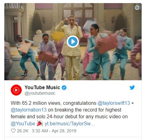 Taylor Swift yeni şarkısıyla Youtube Rekorunu Kırdı!