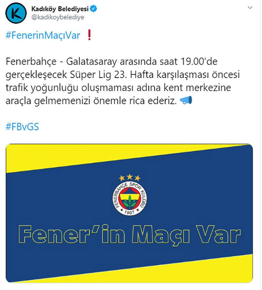 Kadıköy Belediyesinden Derbi Açıklaması Geldi!