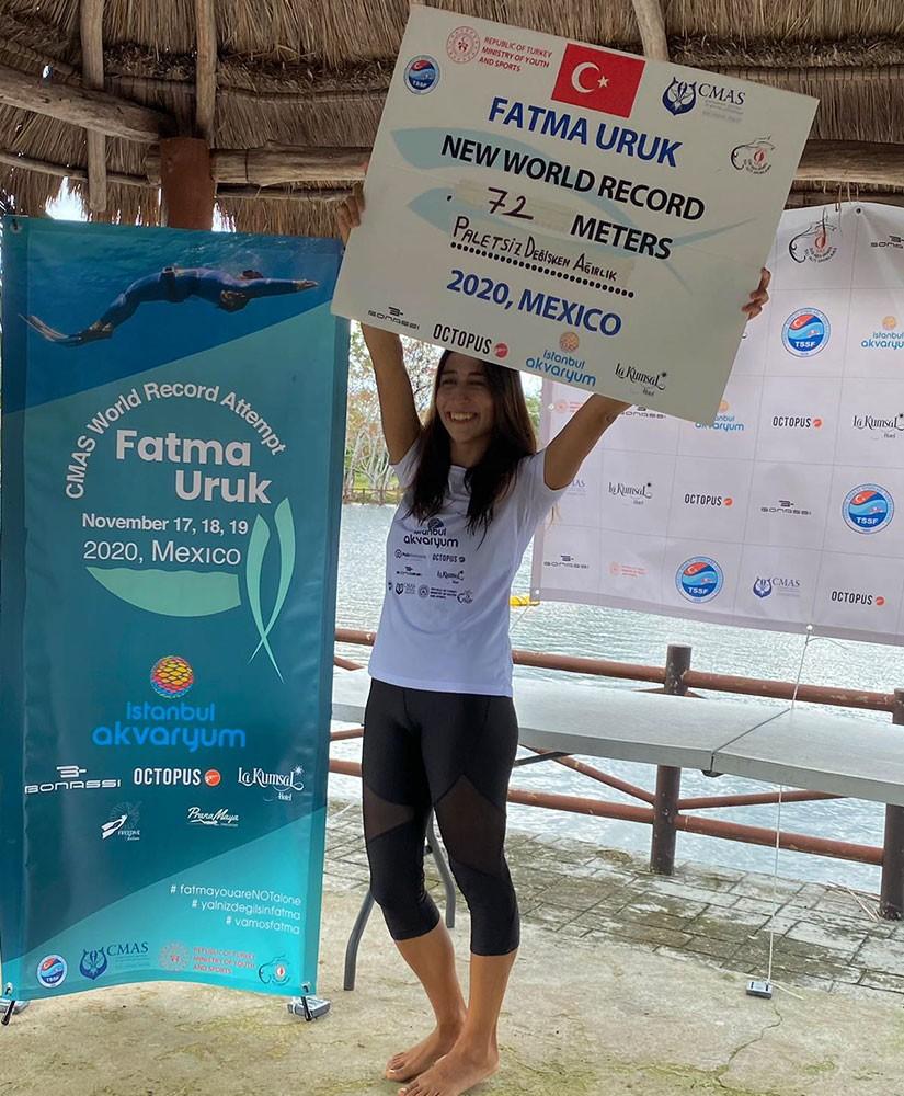 Serbest dalışta dünya rekoru Fatma Uruk'tan geldi