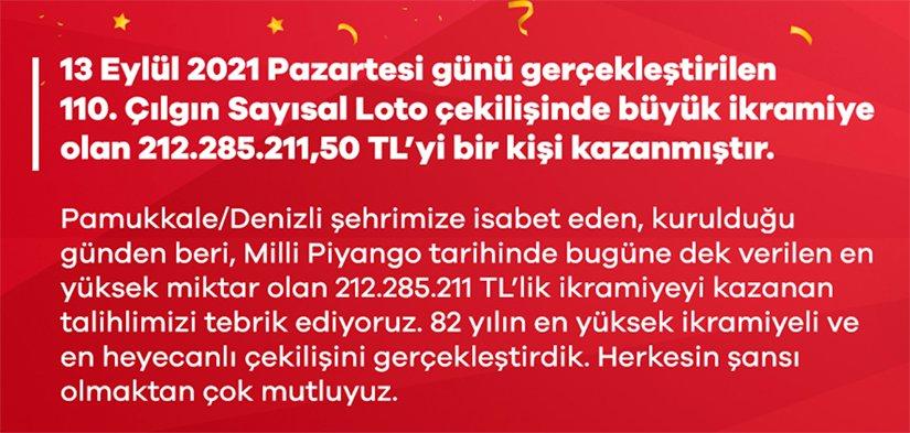 Çılgın Sayısal Loto'dan çılgın ikramiye! 212 milyon TL Denizli'ye çıktı!